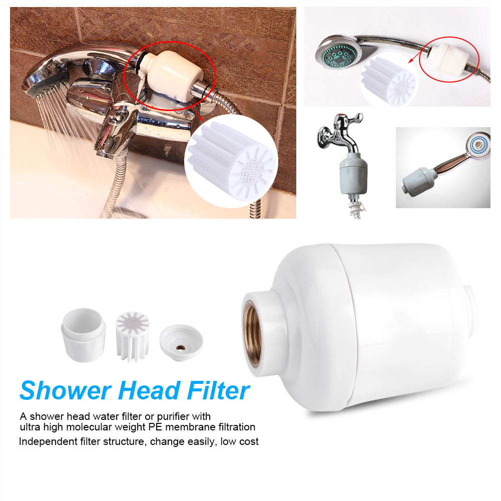 Dilwe Bathroom Shower Filter,Shower Head Filter,Removable Healthy Bathroom Shower Head In-Line Faucet Filter Purifier Softener Clean Water
