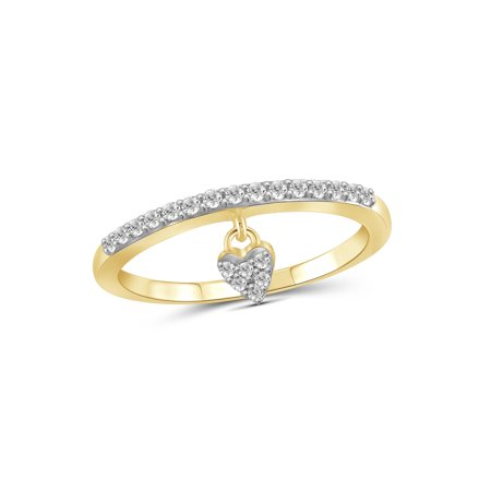 1/5 Carat T.W. White Diamond 14k Gold Over Silver Heart Stackable Ring