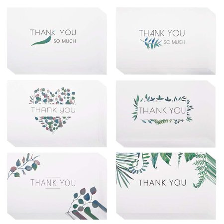 eZAKKA Thank You Cards, 48 Assorted Bulk Box Blank Watercolor Craft Green Leaves Thank You Card Greeting Note Cards for Wedding, Graduation, Baby Shower, Bridal Party, Business, Anniversary, - Wedding Shower Thank You Cards