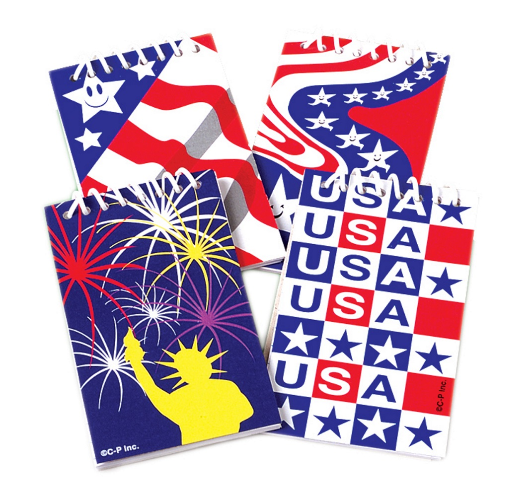 US Toy Patriotic Notepads 3.5 Party Favors, Red White Blue, 12 Pack