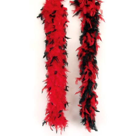 Loftus Women Long Fluffy Feather Boa, Red Black, One Size (72
