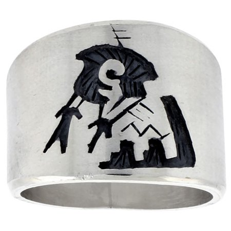 Sterling Silver Native American Design - Sterling Silver Native American Design BRAVE Ring, sizes 8-13