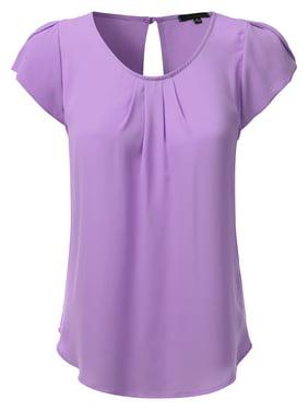 911bb6edbe8 Product Image Doublju Women s Woven Petal Short Sleeve Blouse BABYPINK S