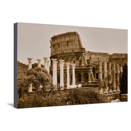 Sepia image of columns of the Forum and Colosseum or Roman Coliseum at dusk with streaked car li... Stretched Canvas Print Wall Art - Plastic Roman Columns For Sale