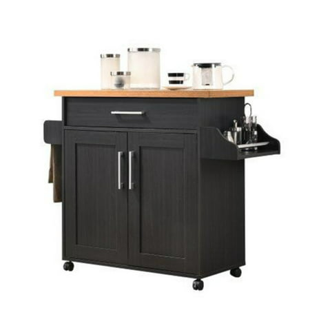 Renovations Island - Hodedah Imports Kitchen Island with Spice Rack and Towel Holder