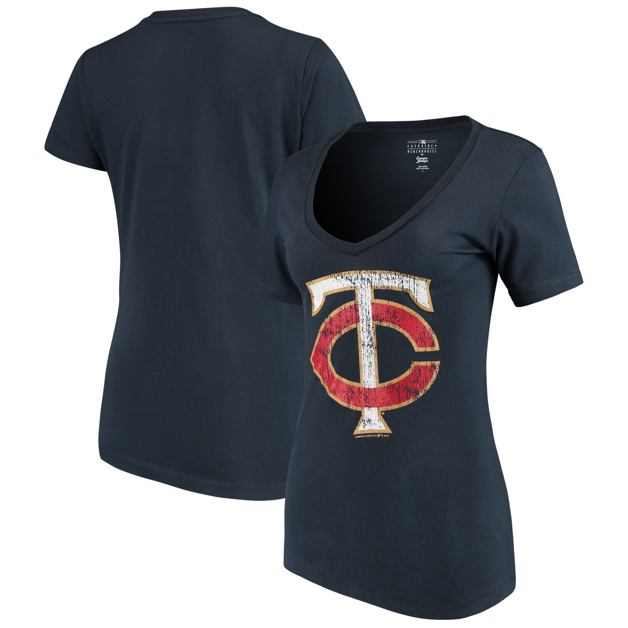 Minnesota Twins New Era Women's V-Neck T-Shirt - Navy