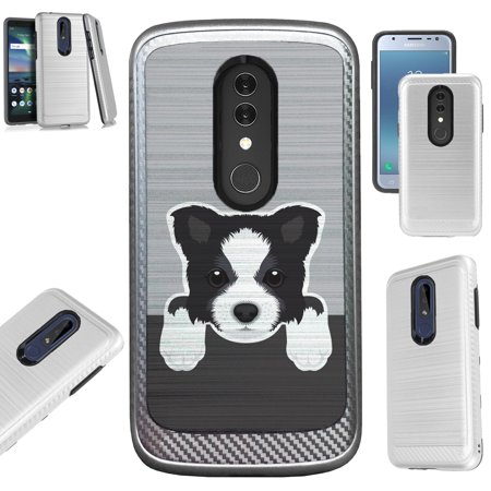 Compatible Alcatel Onyx (2018) Case Brushed Metal Texture Hybrid TPU Artillery Phone Cover (Cute Dog Border (Best Dog Brush For Border Collie)