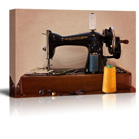 Old Sewing Machine with Scissors and Glasses Retro Vintage Style - Canvas Art Wall Decor - 12