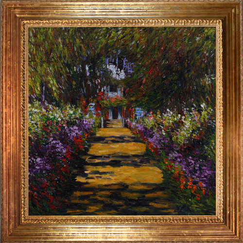 Wildon Home  Garden Path at Giverny by Claude Monet Framed Original Painting