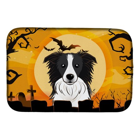 Halloween Border Collie Dish Drying Mat - Halloween Document Borders