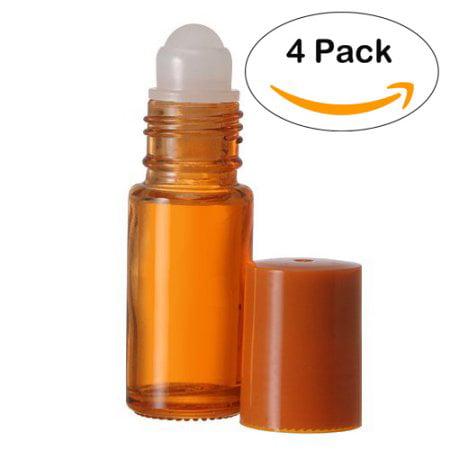 Roll On Bottle - 4 Pack - Empty Glass Bottles - Refillable Color Roll On for Fragrance Essential Oil - 30 ml 1 oz - Orange Color