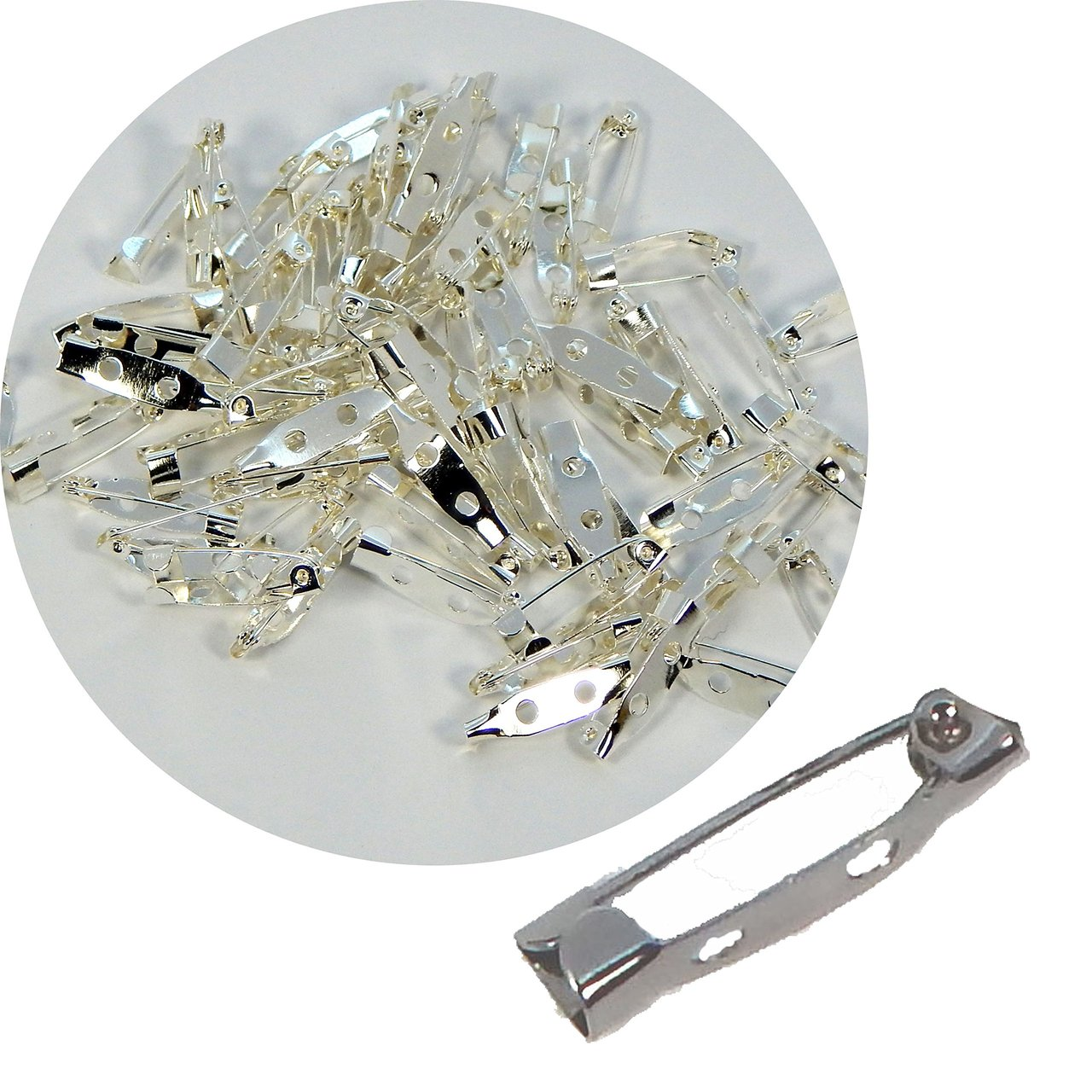 SILVER 2 PACKAGES BAR STYLE PIN BACKS WITH SAFETY CATCH 3//4/""