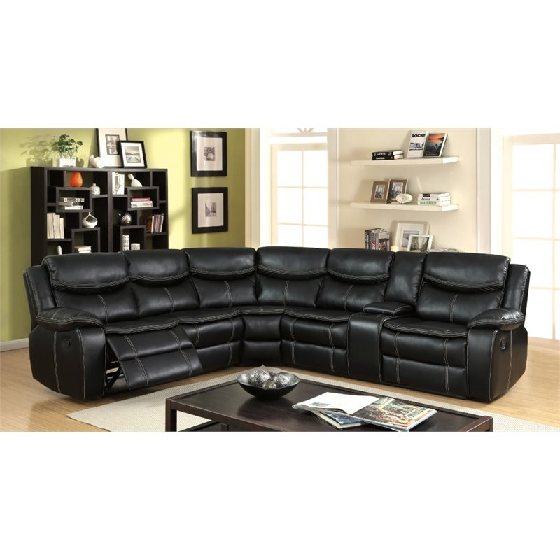 Furniture of America Monica Reclining Sectional in Black