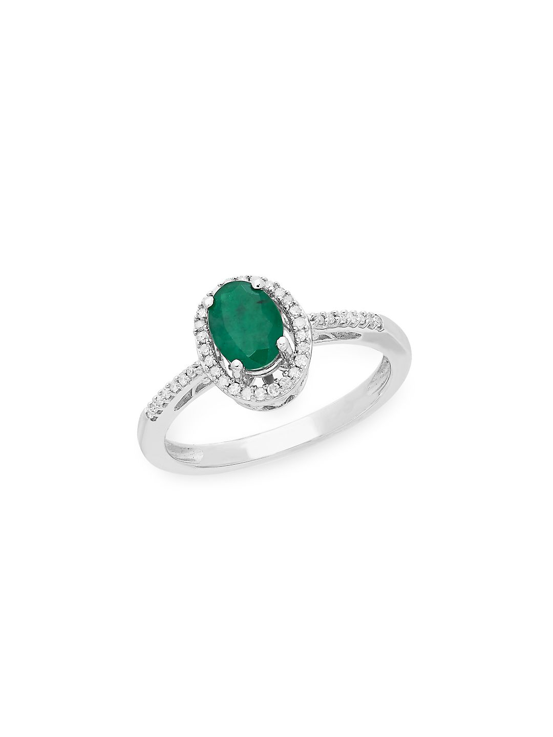 Sterling Silver, Emerald & Diamond Solitaire Ring