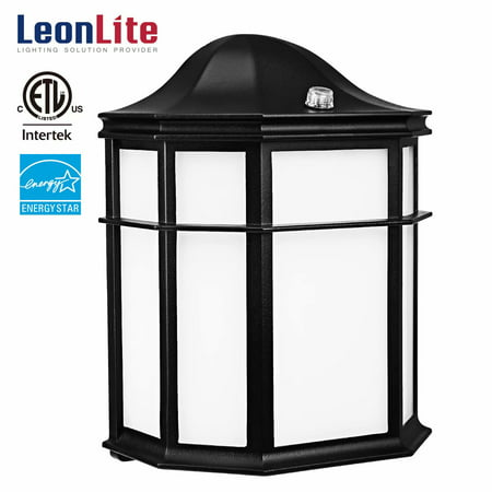 Leonlite 14w Led Wall Lights Fixtures Outdoor Security Light 1050lm Lighting With Photocell 3000k Warm White Black