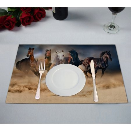 GCKG Wild Animal Placemat, Horse Herd Run in Desert Sand Storm Placemat 12x18 Inch,Set of 2