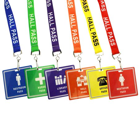 6 Pack - Student Hall Pass Lanyards with Unbreakable Card Passes & Safety Breakaway Lanyards (Hall, Bathroom, Library, Office & Nurse) - Classroom/School Supplies for Teachers by Specialist ID for $<!---->