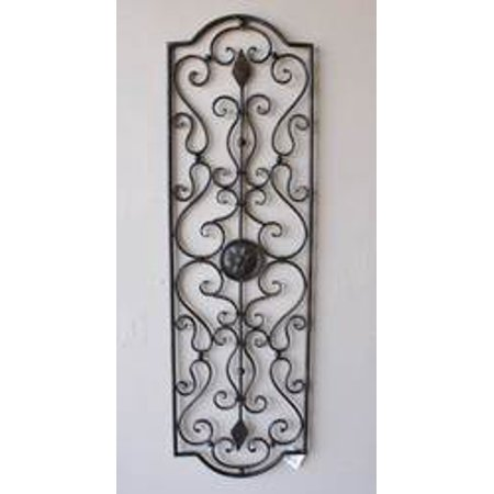 Letizia Tuscan 40 Indoor Outdoor Rectangular Wrought Iron Wall Grille Plaque