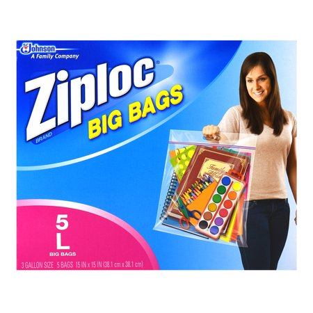 Ziploc 3-Gallon Pinch and Seal Big Bags, Large, 5-Count (Plastic Bedding Storage Bags)