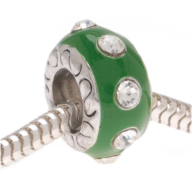 Silver Tone And Green Enamel Bead With Crystals - European Style Large Hole (1)