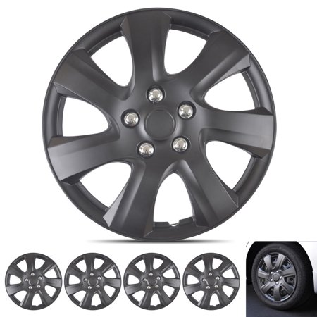 Factory 16 Inch Wheels - BDK Hubcap Wheel Covers Toyota Camry 2006-2014 Style - 16 Inch Silver Replica Cover, OEM Factory Replacement (4 Pieces) (Matte Black)