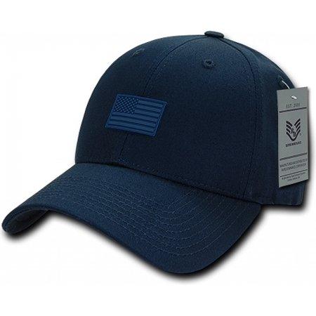 RapDom USA Structured Small Rubber Flag Mens Cap [Navy Blue - Adjustable] - Uta Caps