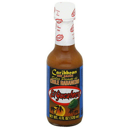 El Yucateco Chile Habanero Caribbean Hot Sauce, 4 fl oz, (Pack of