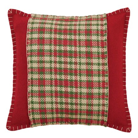Cherry Red Seasonal Decor Claren Felt Appliqued Plaid Square Pillow (Pillow Cover, Pillow Insert)