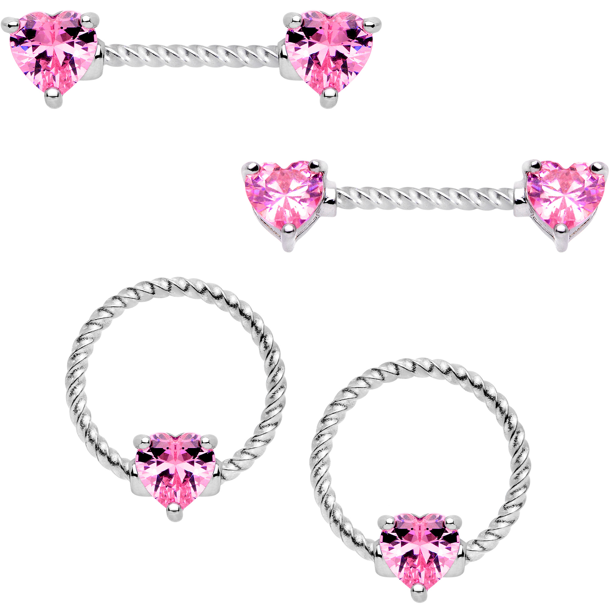 Body Candy Womens 4PC Stainless Steel Pink Heart Captive Bead Ring Nipple Rings Piercing Set