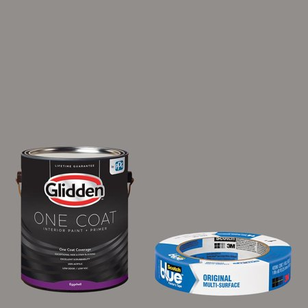 Glidden One Coat, Interior Paint + Primer, Antique Silver, Semi-gloss Finish, Quart with ScotchBlue Painters Tape Original Multi-Use, .94in x 60yd(24mm x 54,8m Bundle Antique Iron Semi Flush