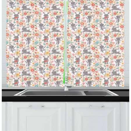 Tasty Puff Drops (Spring Curtains 2 Panels Set, Powder Puff Tailed Bunnies Jumping and Eating Tasty Carrots Around Flower Bouquets, Window Drapes for Living Room Bedroom, 55W X 39L Inches, Multicolor, by)