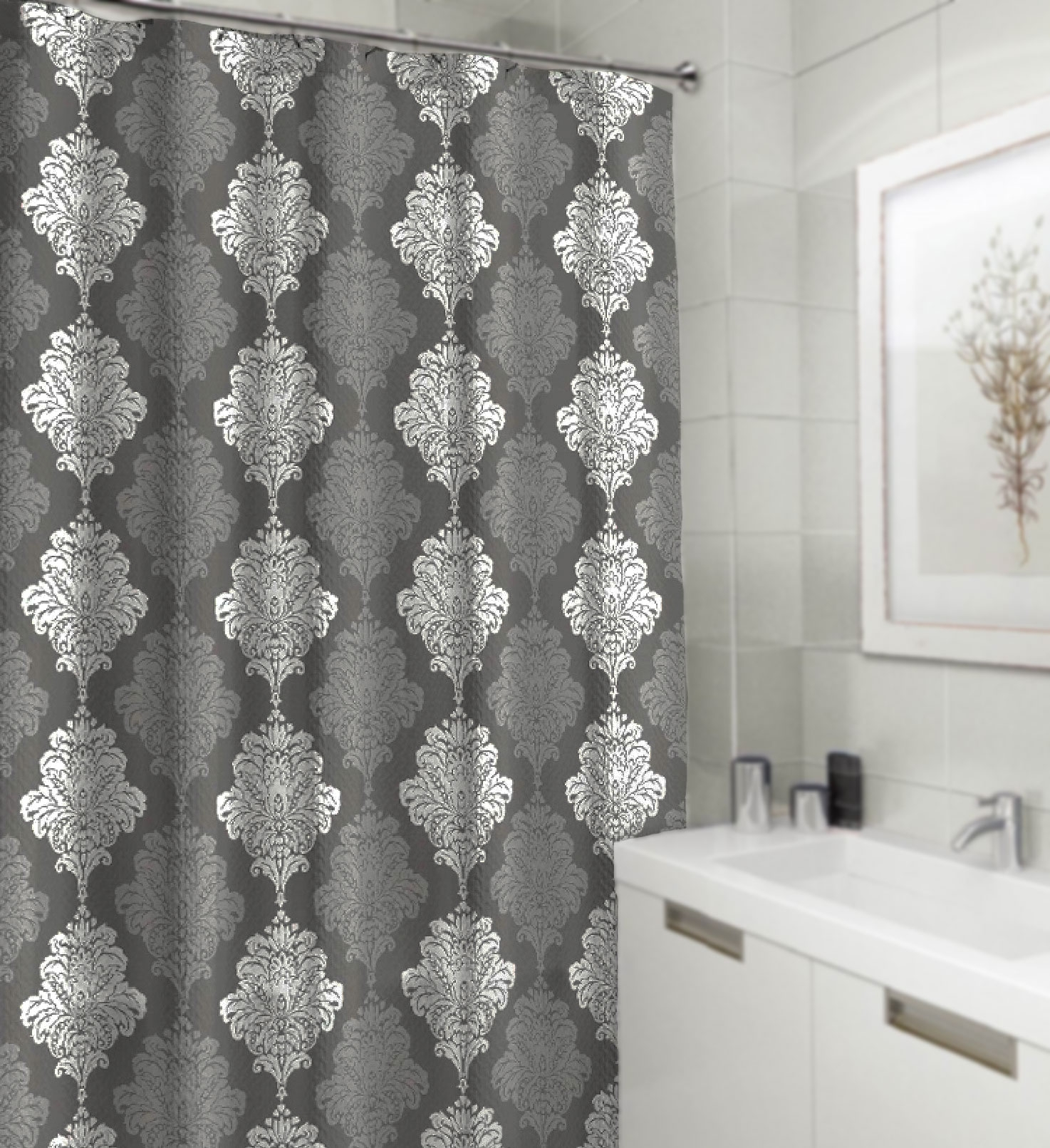 Shower Curtain Gray and White Damask Textured Fabric Decorative Bathroom