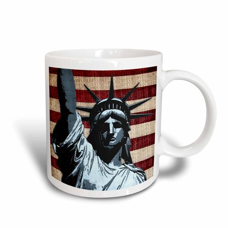 3dRose Liberty Flag patriotic Statue of Liberty with American flag and liberty text, Ceramic Mug, 15-ounce
