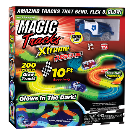 NEW! Magic Tracks Xtreme Rescue 10ft Racetrack with Blue Police Car, As Seen on TV