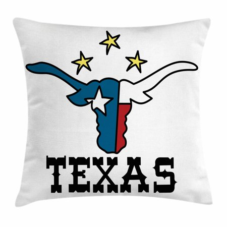 Texas Star Throw Pillow Cushion Cover, Doodle Style Buffalo Head with Horns Texas Flag and Vintage Letters Cowboy Theme, Decorative Square Accent Pillow Case, 20 X 20 Inches, Multicolor, by Ambesonne](Theme Cowboy)