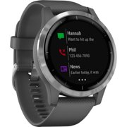 Garmin vvoactive 4 Silver Stainless Steel Bezel with Shadow Gray Case and Silicone Band