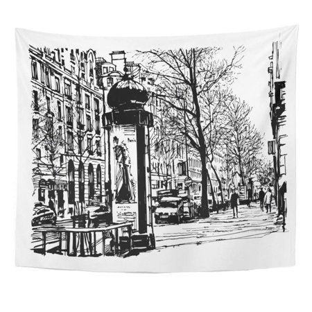ZEALGNED Architecture Sketch Boulevard in Paris Street Attraction Automobiles Avenue Wall Art Hanging Tapestry Home Decor for Living Room Bedroom Dorm 51x60 inch
