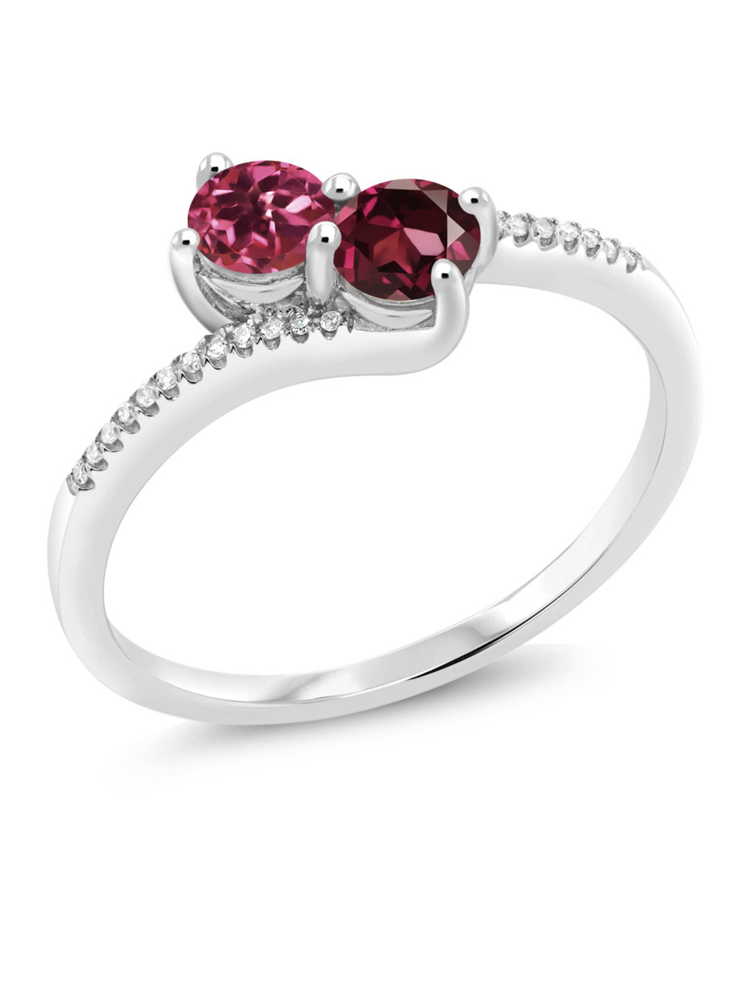 0.78 Ct Round Pink Tourmaline Red Rhodolite Garnet 10K White Gold Ring by