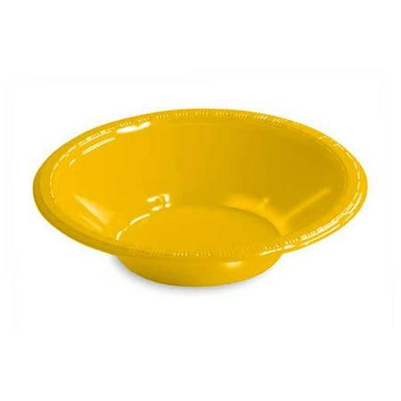 Yellow Plastic Bowls (12 oz Plastic Bowls School Bus Yellow,Pack of 20)