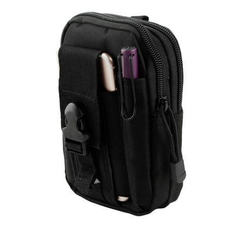 Moto E4 Pouch - Tactical EDC MOLLE Utility Gadget Holder Pack Belt Clip Waist Bag Phone Carrying Holster - (Black) and Atom Cloth for Moto E4