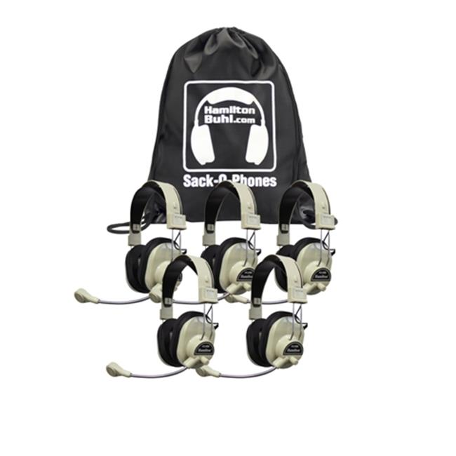 HamiltonBuhl Sack-O-Phones, 5 HA-66M Deluxe Multimedia Headphones in a Carry Bag