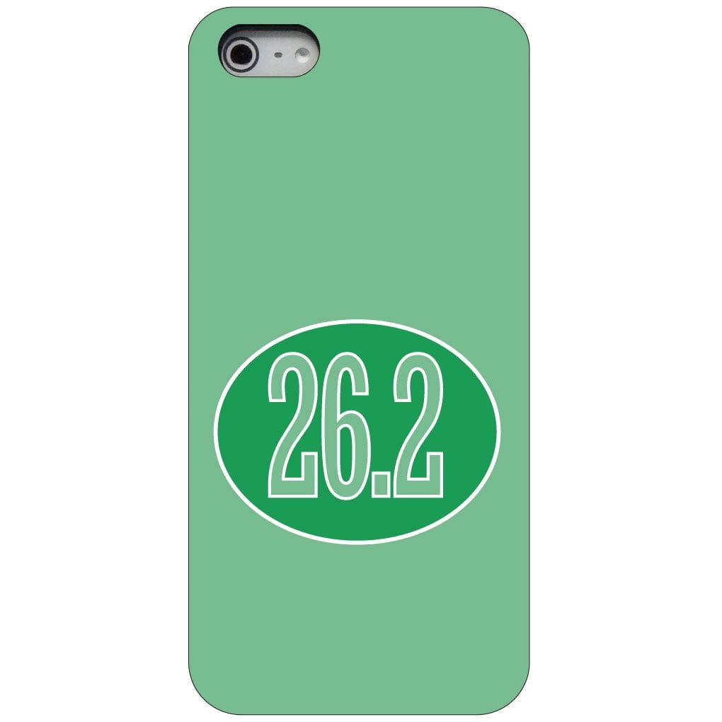 CUSTOM Black Hard Plastic Snap-On Case for Apple iPhone 5 / 5S / SE - Green 26.2 Oval Marathon Run
