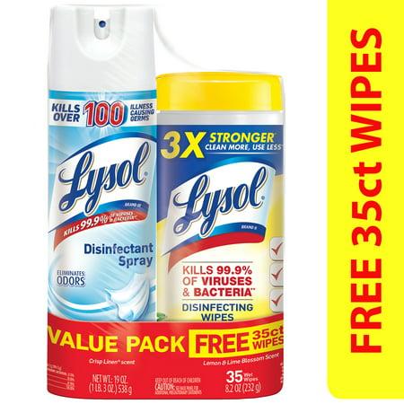 - Lysol Disinfectant Spray, Crisp Linen 19oz + Disinfecting Wipes, Lemon 35ct