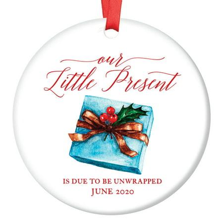 - 2019 Pregnancy Announcement Ornament Expecting Parents Porcelain Ceramic Ornament, 3