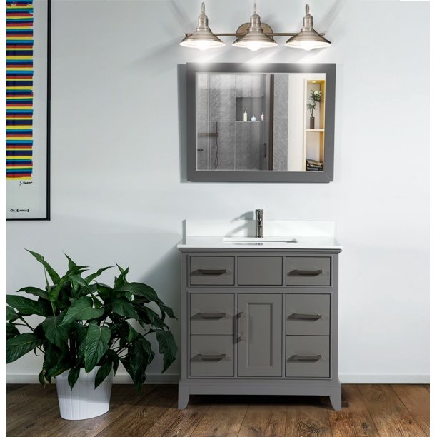 Vanity Art 36 Single Sink Bathroom Vanity Combo Set 6 Drawers 1 Shelf Super White Phoenix Stone Top Under Sink Cabinet With Mirror Walmart Com Walmart Com