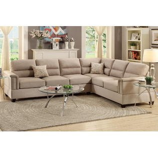 Altamura 2pieces sectional with reversible chaise upholstered in sand polyfiber - Maison sofa altamura ...