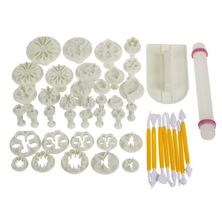 46 Piece Large Cake Dessert Decorating Supply Kit Set for Baking, Dessert Design and More with Flower Fondant Shape Cutters and Rolling - Abc Cake Decorating Supplies