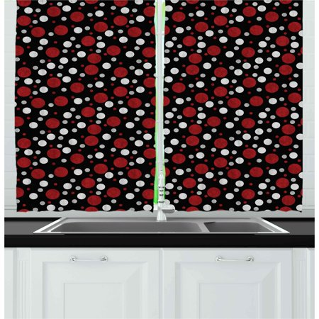 Red and Black Curtains 2 Panels Set, Retro 60s 70s Cartoon Snow Like Polka Dots Circles Rounds, Window Drapes for Living Room Bedroom, 55W X 39L Inches, White Pale Grey - White And Burgundy