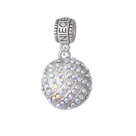 Large Super Sparkle Crystal Clear AB Volleyball - Niece Charm Bead