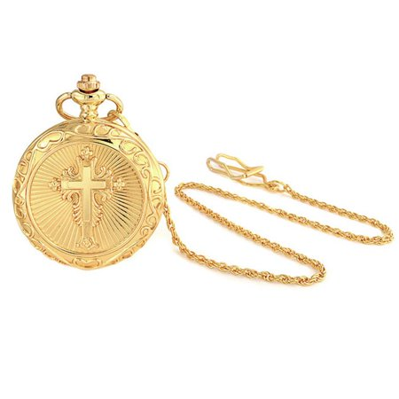 Large Gold Plated Shiny Religious Cross Mens Pocket - Set Yellow Pocket Watch
